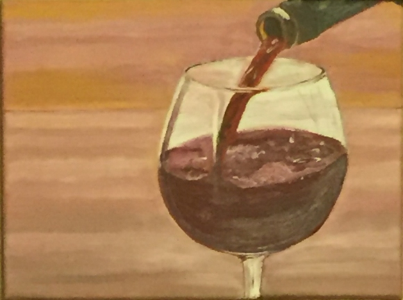 "A Glass of Red (2015) - 9x13"", oil on canvas (sold)"