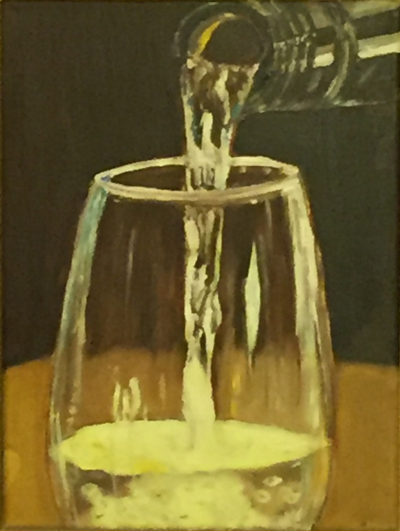 """A Glass of White (2015) - 13x9"""", oil on canvas (sold)"""