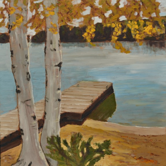 "Across Trout Lake (2012) - 16x16"", oil on board (sold)"