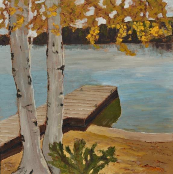 "Across Trout Lake (2012) - 16x16"", oil on board (sold)"