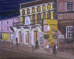 """An Evening at the Theatre (New Royal Theatre in Bath UK) (2014) - 16x20"""", oil on canvas"""