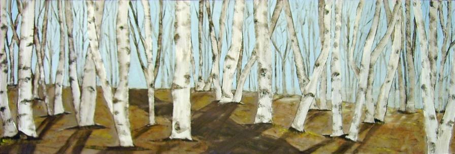 "Birch Trees in Autumn (2013) - 12x36"", oil on board"