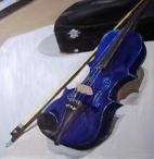 """Blue Violin (2012) - 16x16"""", oil on board (sold)"""
