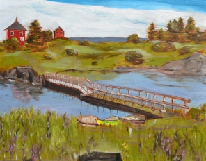 "Boats by a Bridge (2012) - 16x20"", oil on board (sold)"