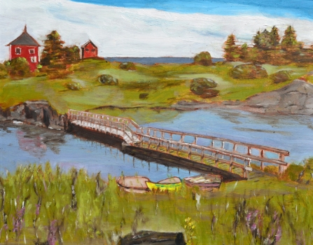 "Boats by a Bridge (2012) - 16x20"", oil on board (sold)"