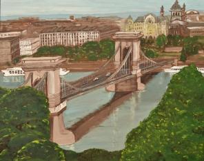 """Budapest Chain Bridge (2013) - 24x30"""", oil on board (sold)"""