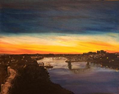 "Building a Bridge (2016) - 16x20"", oil on canvas (sold)"