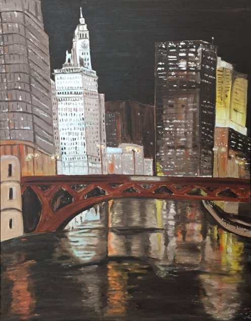 "Chicago at Night (2015) - 28x22"", oil on canvas"
