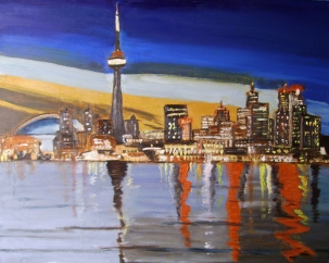 "City Lights (2012) - 16x20"", oil on board (sold)"