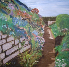 "Down the Garden Path (2012) - 16x16"", oil on board (sold)"