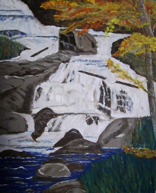 "Duchesnay Falls (2012) - 20x16"", oil on board"