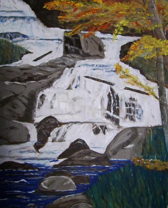 "Duchesnay Falls (2012) - 20x16"", oil on board (sold)"
