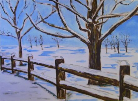 "Fence in Winter (2013) - 11x15"", acrylic on art paper (sold)"