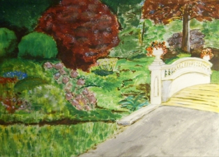 "Garden Stroll (2013) - 11x15"", acrylic on art paper (sold)"