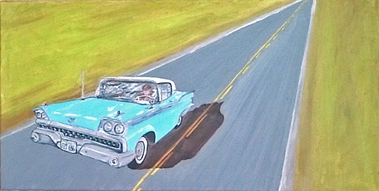 "Grandpa's Ford Fairlane (2014) - 12x24"", oil on canvas (sold)"