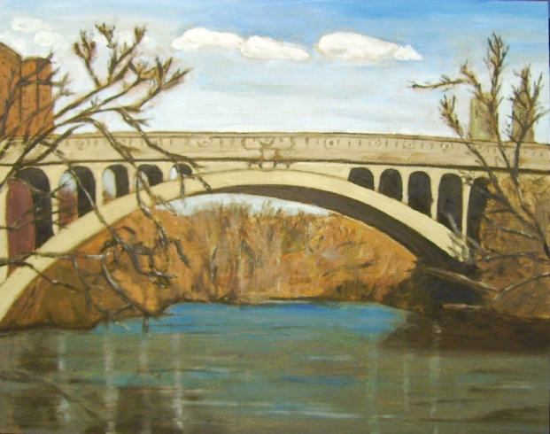 "Hunter Street Bridge (2012) - 16x20"", oil on board (sold)"