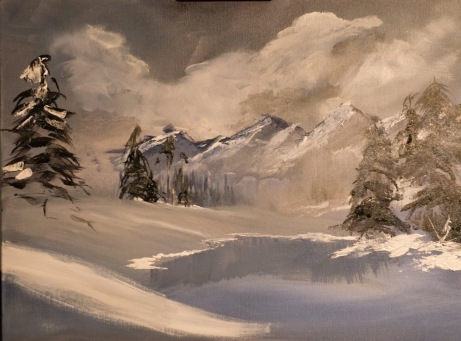 """Lake and Mountains (2016) - 16x20"""", acrylic on canvas (sold)"""