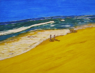 "Life's a Beach (2013) - 10x13"", acrylic on art paper (gifted)"