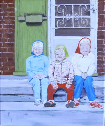 "Little Sisters (2013) - 12x10"", oil on canvas (gifted)"