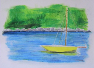 "Little Yellow Boat (2013) - 11x15"", oil pastel on art paper (sold)"