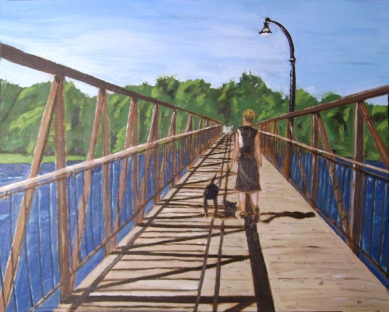 "London Street Footbridge (2012) - 16x20"", oil on board (sold)"