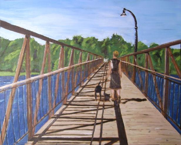 """London Street Footbridge (2012) - 16x20"""", oil on board (sold)"""