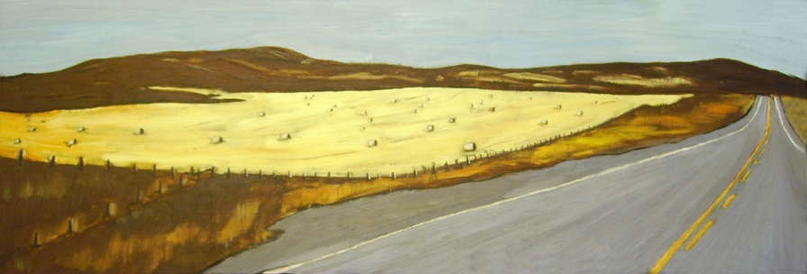 "Making Hay (2013) - 12x36"", oil on board (sold)"
