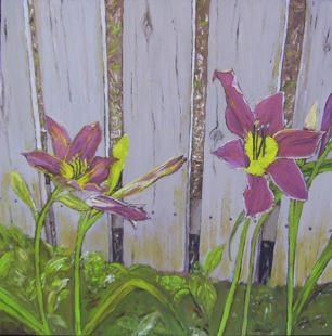 """Maroon Daylilies - Flowers by a Fence #3 (2013) - 12x12"""", oil on board (sold)"""