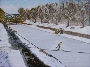"""Morning Skate (2014) - 12x16"""", oil on canvas (sold)"""