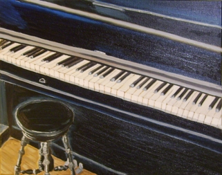 """My Old Piano (2014) - 16x20"""", oil on canvas (sold)"""