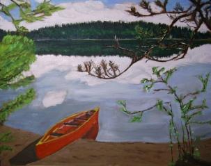 """Nancy's Canoe (2012) - 16x20"""", oil on board (sold)"""