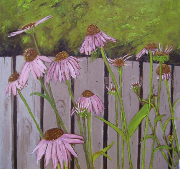 "Purple Coneflowers - Flowers by a Fence #1 (2013) - 12x11.5"", oil on board (sold)"
