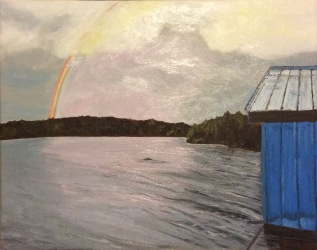 "Rainbow at Otter Lake (2017) - 16x20"", oil on canvas (sold)"