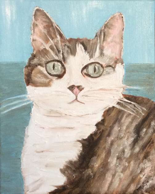 "Skunky Cat (2016) - 10x8"", oil on canvas (not for sale)"