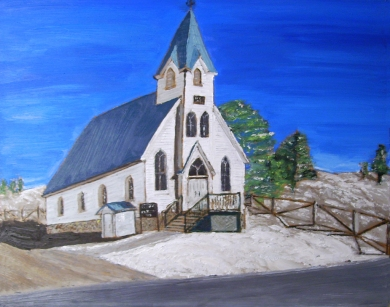 "Snow Road Church (2012) - 16x20"", oil on board (gifted)"