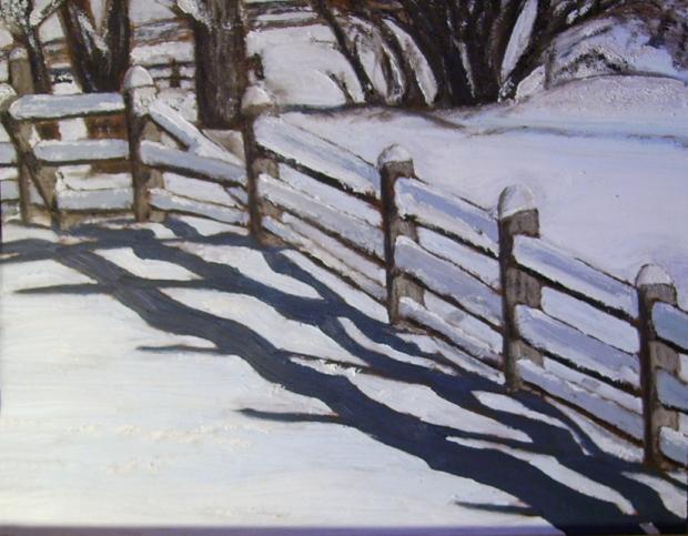 "Snowy Fence (2013) - 12x15"", oil on board (sold)"