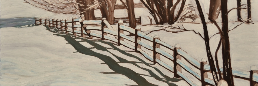 """Snowy Field (2013) - 12x36"""", oil on board (sold)"""