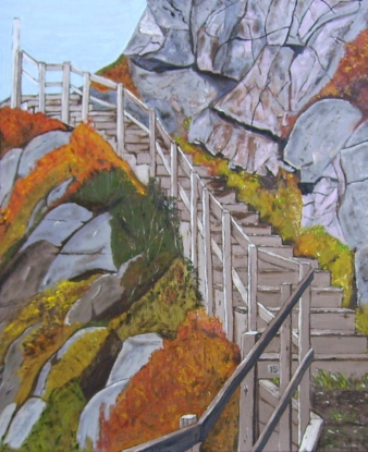 "Stairs at Signal Hill (2014) - 30x24"", oil on board (sold)"
