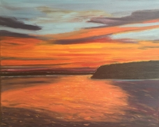 """Sunset Over Rice Lake (2016) - 16x20"""", oil on canvas"""