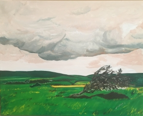 """The windswept lonely Hawthorne tree (2016) - 16x20"""", oil on canvas"""