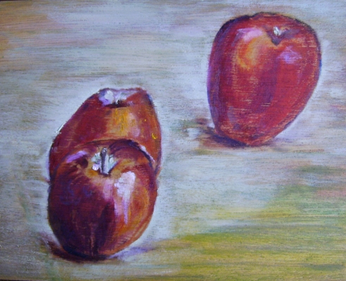 "Three Apples (2012) - 8x10"", oil on board (not for sale)"