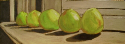 "Tomatoes Ripen (2013) - 6x16"", oil on board (sold)"
