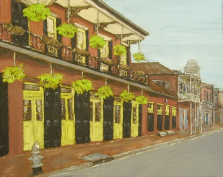 "Toulouse and Dauphine, New Orleans (2013) - 12x15"", oil on board (sold)"