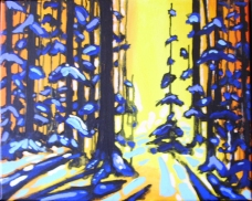 """Winter Forest (2015) - 16x20"""", acrylic on canvas (gifted)"""