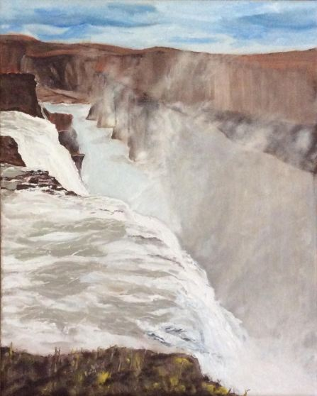 "Mist at Gullfoss Waterfall, Iceland (2017) - 20x16"", oil on canvas"