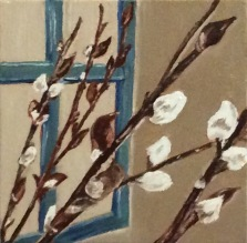 """Pussywillows (2017) - 6x6"""", oil on canvas"""