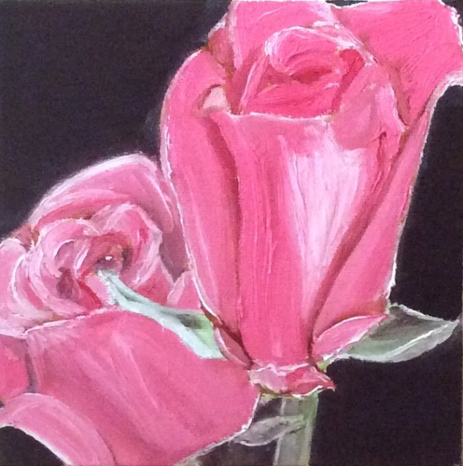 "Roses (2017) - 6x6"", oil on canvas (gifted)"