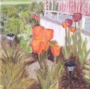 "Tulips in the Garden (2017) - 8x8"", oil on canvas"