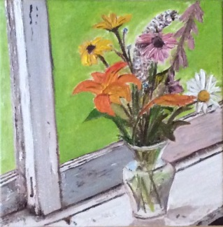"""Wildflowers on the Sill (2017) - 8x8"""", oil on canvas (sold)"""