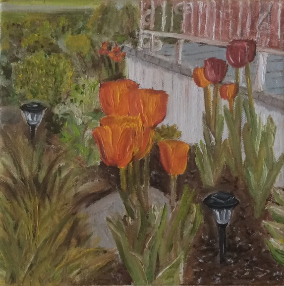 """Tulips in the Garden (2017) - 8x8"""", oil on canvas"""